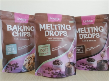 Chocolate drops - in recyclable stand-up pouches